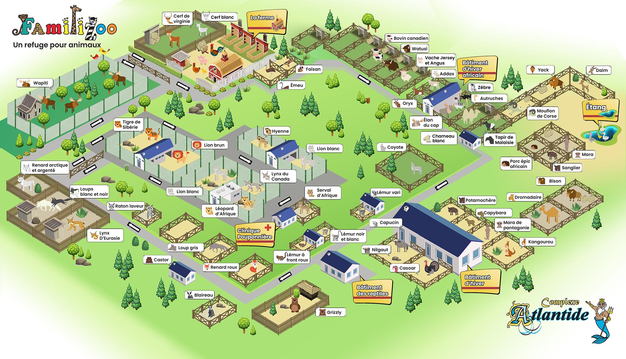 Plan à sens unique du zoo   Zoo  Familizoo